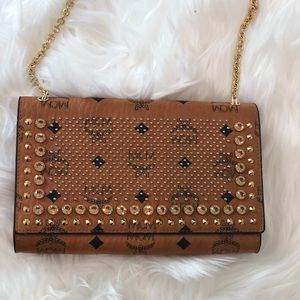 AUTH MCM Studded Visetos Cognac Canvas Cross Body